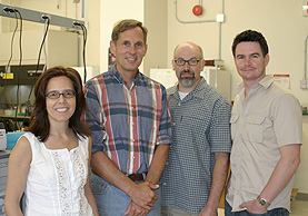 The PhyloChip team (left to right): Yvette Piceno, Gary Andersen, Todd DeSantis, and Eoin Brodie.